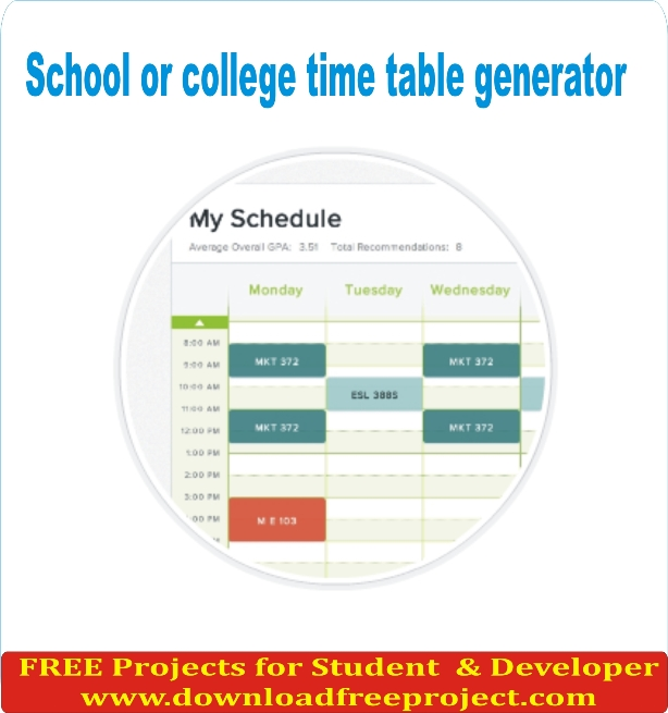 Free School or college time table generator In PHP Projects Download